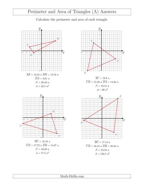 The Perimeter and Area of Triangles on Coordinate Planes (A) Math Worksheet Page 2
