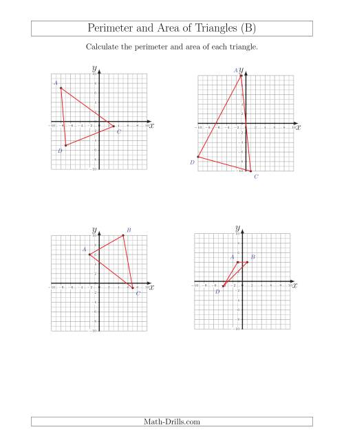 The Perimeter and Area of Triangles on Coordinate Planes (B) Math Worksheet