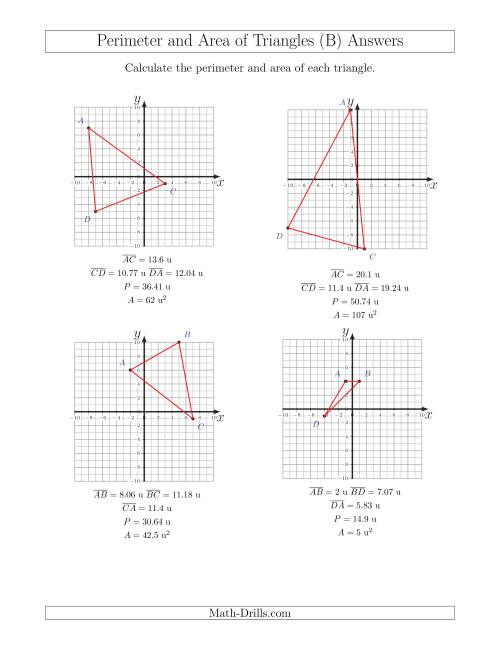 The Perimeter and Area of Triangles on Coordinate Planes (B) Math Worksheet Page 2