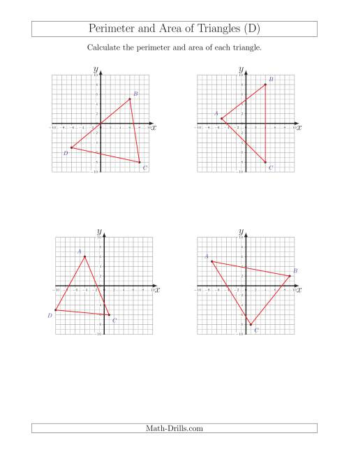 Perimeter and Area of Triangles on Coordinate Planes (D)