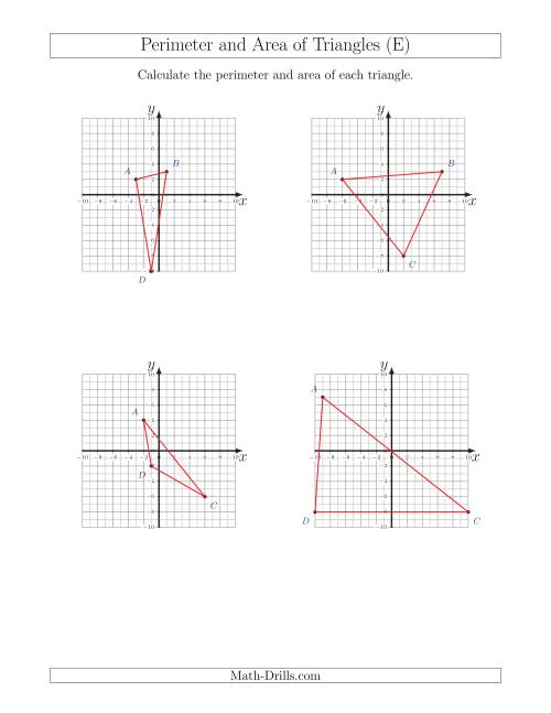 The Perimeter and Area of Triangles on Coordinate Planes (E) Math Worksheet