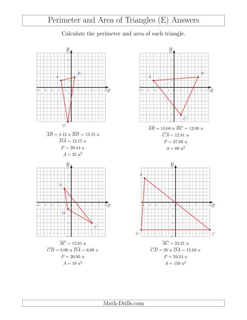 The Perimeter and Area of Triangles on Coordinate Planes (E) Math Worksheet Page 2