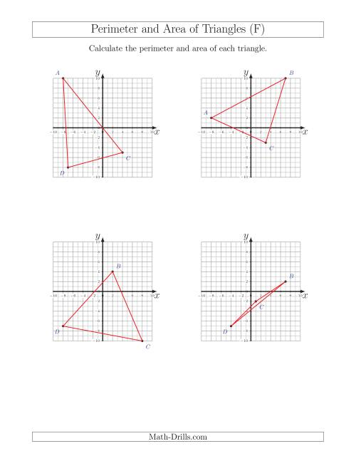 The Perimeter and Area of Triangles on Coordinate Planes (F) Math Worksheet