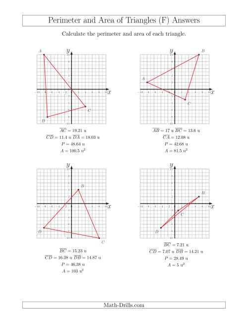 The Perimeter and Area of Triangles on Coordinate Planes (F) Math Worksheet Page 2