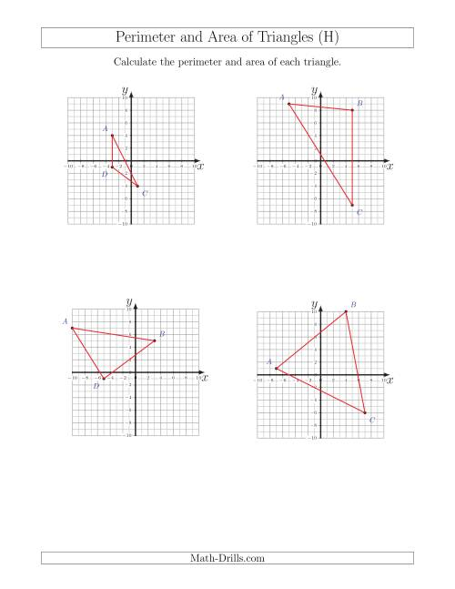 The Perimeter and Area of Triangles on Coordinate Planes (H) Math Worksheet