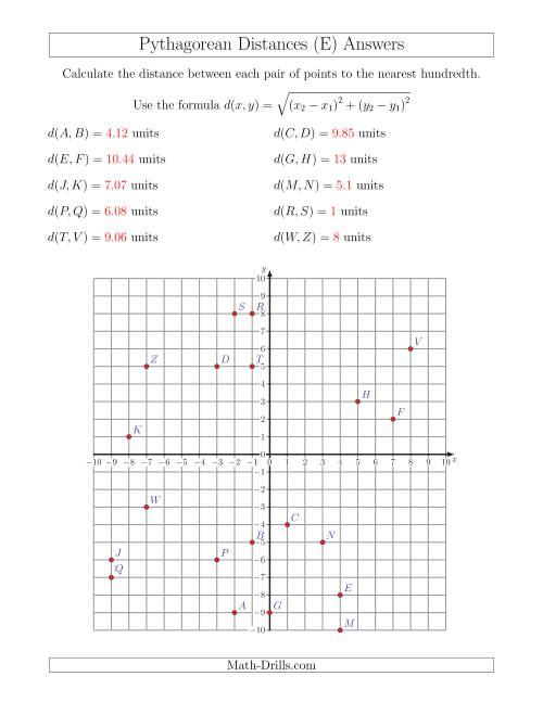 The Calculating the Distance Between Two Points Using Pythagorean Theorem (E) Math Worksheet Page 2
