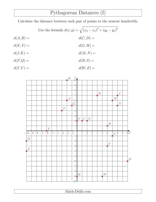 The Calculating the Distance Between Two Points Using Pythagorean Theorem (I) Math Worksheet