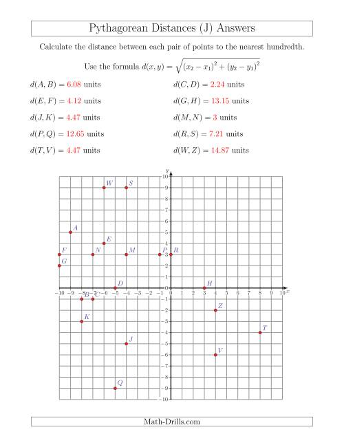 The Calculating the Distance Between Two Points Using Pythagorean Theorem (J) Math Worksheet Page 2