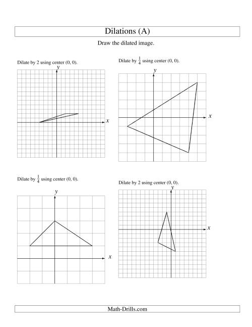 Worksheets Dilations Worksheet dilations using center 0 a