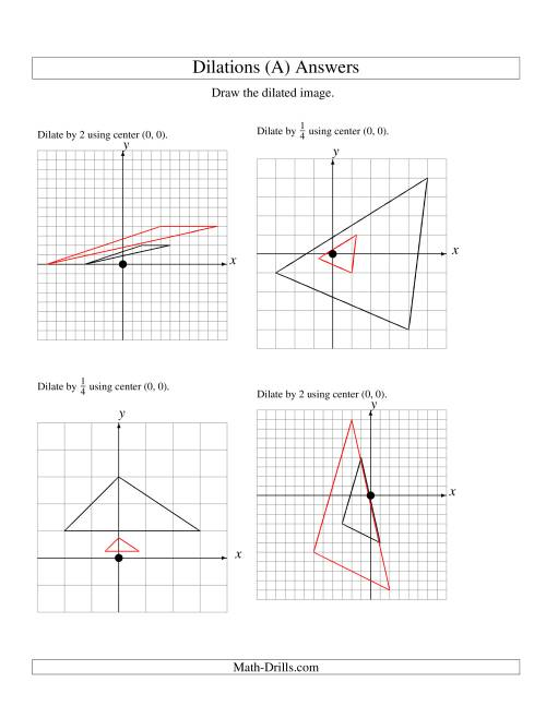 The Dilations Using Center (0, 0) (A) Math Worksheet Page 2