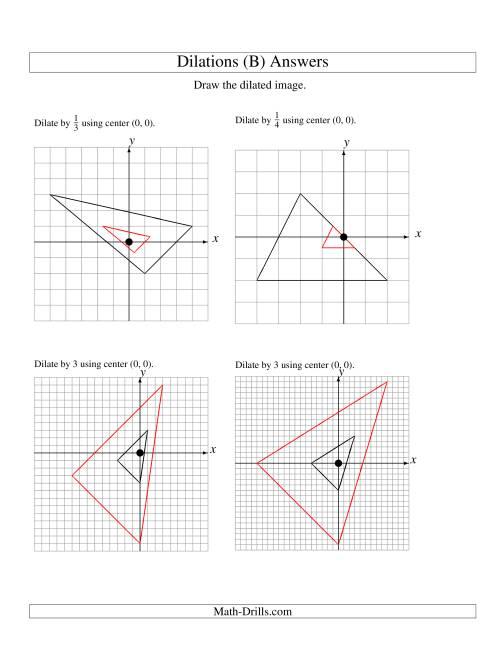 Dilations Using Center (0, 0) (B)