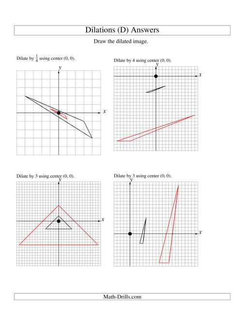 Dilations Using Center (0, 0) (D)