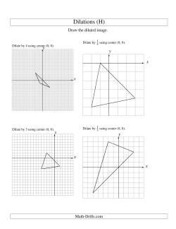 dilations using center 0 0 h geometry worksheet. Black Bedroom Furniture Sets. Home Design Ideas