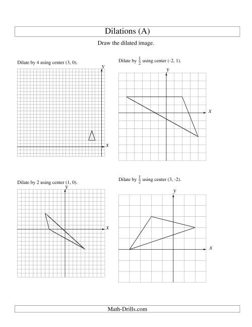 The Dilations Using Various Centers (A) Geometry Worksheet