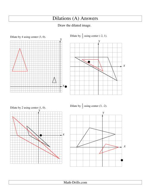 worksheet Geometry Dilations Worksheet dilations using various centers a the math worksheet page 2