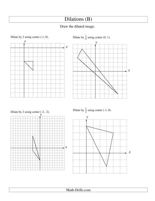 The Dilations Using Various Centers (B) Math Worksheet
