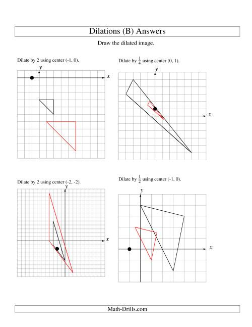 The Dilations Using Various Centers (B) Math Worksheet Page 2