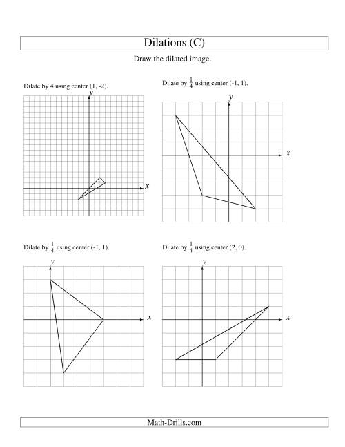 The Dilations Using Various Centers (C) Geometry Worksheet