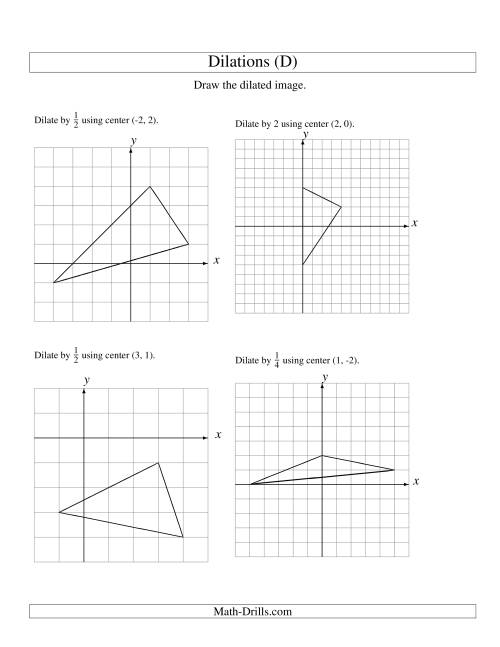 The Dilations Using Various Centers (D) Math Worksheet