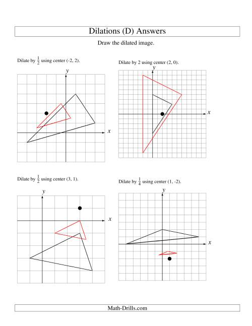 The Dilations Using Various Centers (D) Math Worksheet Page 2