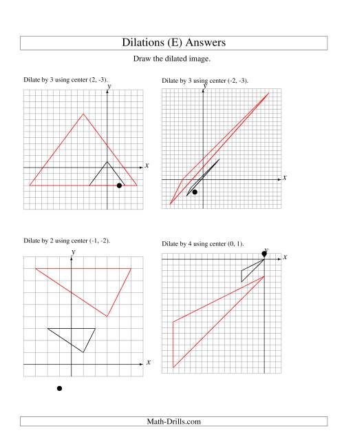 The Dilations Using Various Centers (E) Math Worksheet Page 2
