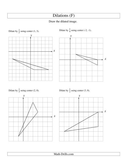 The Dilations Using Various Centers (F) Math Worksheet