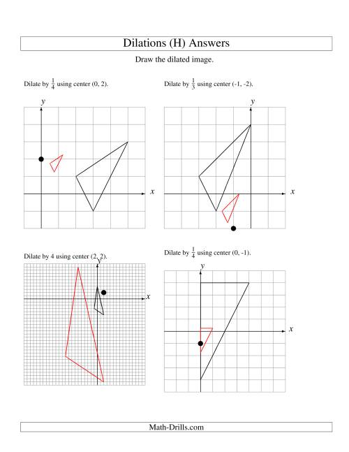 The Dilations Using Various Centers (H) Math Worksheet Page 2