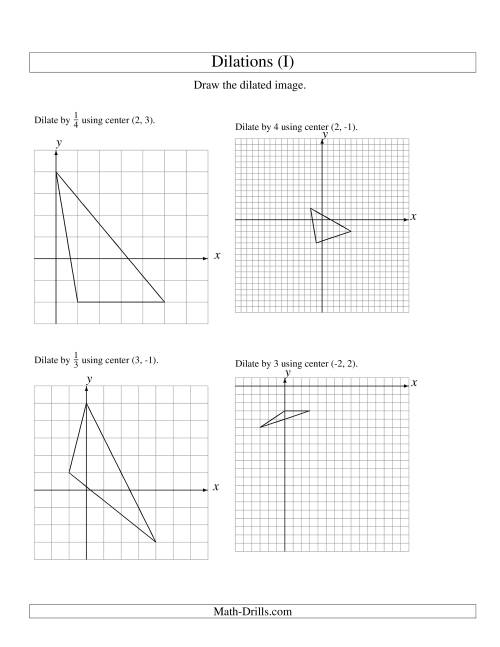 The Dilations Using Various Centers (I) Math Worksheet