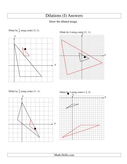 The Dilations Using Various Centers (I) Math Worksheet Page 2