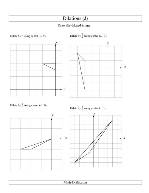 The Dilations Using Various Centers (J) Math Worksheet