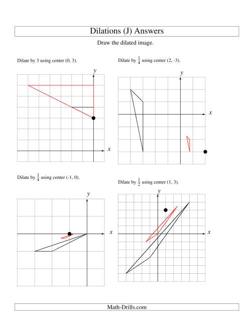 The Dilations Using Various Centers (J) Math Worksheet Page 2