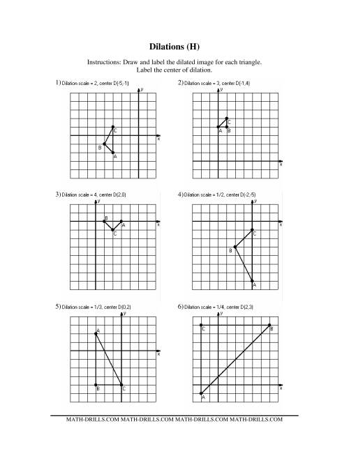 Worksheets Dilations Worksheet dilations old version a