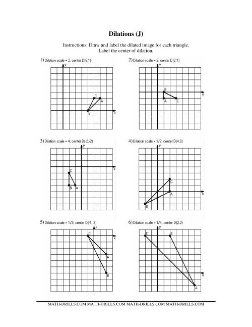 Worksheet Dilations Worksheets dilation transformation geometry worksheet intrepidpath dilations old version jj worksheet