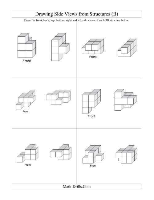 The Building Connecting Cube Structures from Side Views (B) Math Worksheet Page 2