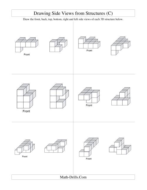The Building Connecting Cube Structures from Side Views (C) Math Worksheet Page 2