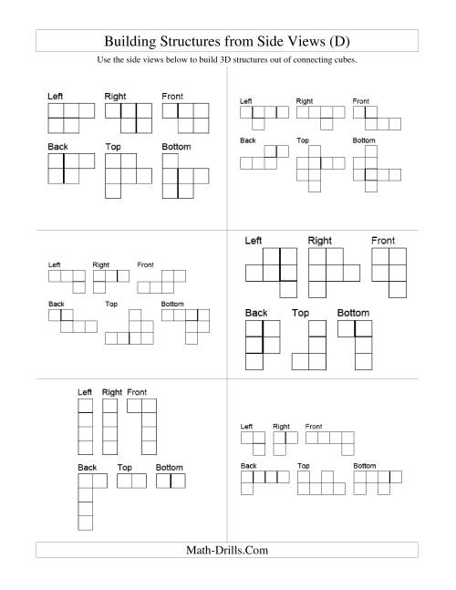 The Building Connecting Cube Structures from Side Views (D) Math Worksheet