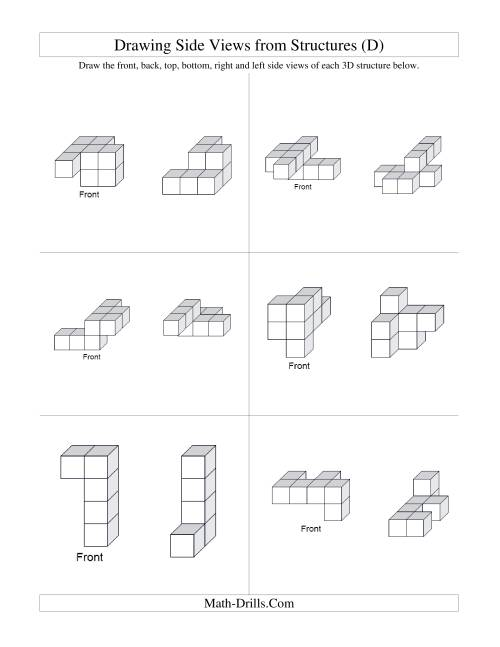 The Building Connecting Cube Structures from Side Views (D) Math Worksheet Page 2
