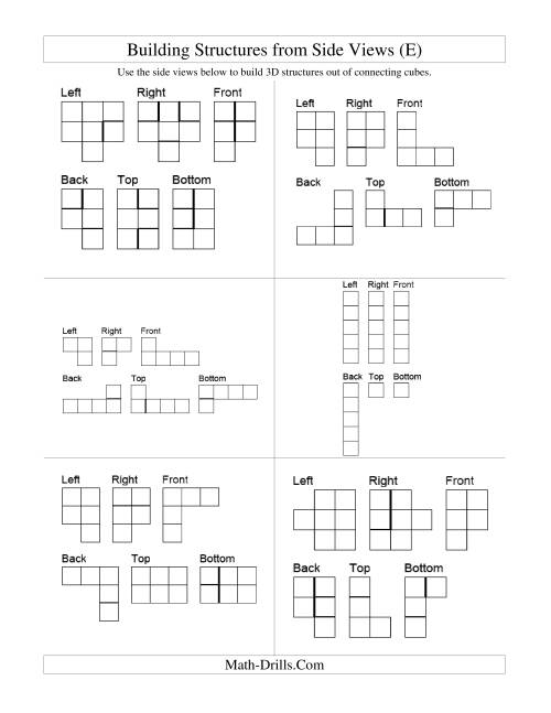 The Building Connecting Cube Structures from Side Views (E) Math Worksheet