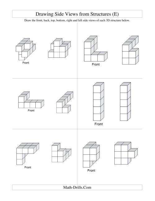 The Building Connecting Cube Structures from Side Views (E) Math Worksheet Page 2