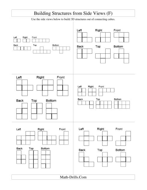 The Building Connecting Cube Structures from Side Views (F) Math Worksheet