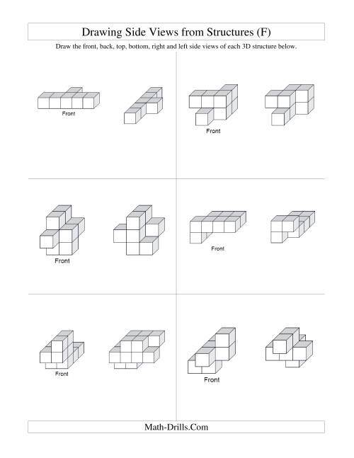 The Building Connecting Cube Structures from Side Views (F) Math Worksheet Page 2