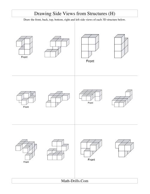 The Building Connecting Cube Structures from Side Views (H) Math Worksheet Page 2