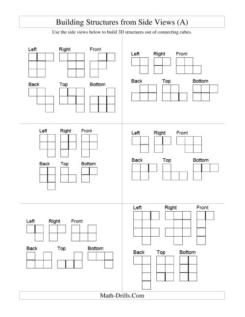 The Building Connecting Cube Structures from Side Views (All) Math Worksheet
