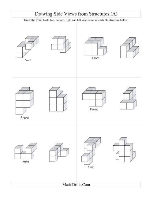 The Building Connecting Cube Structures from Side Views (All) Math Worksheet Page 2