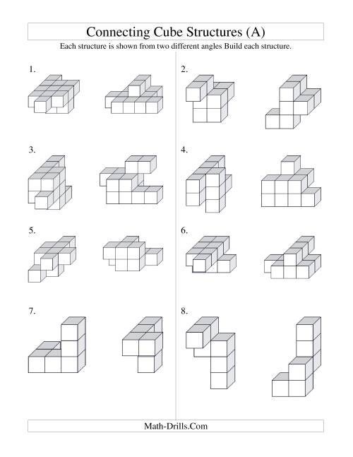 The Building Connecting Cube Structures (A) Math Worksheet