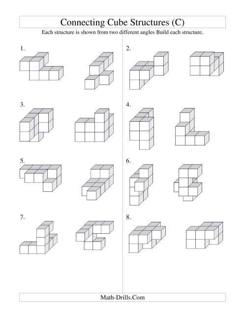 The Building Connecting Cube Structures (C) Math Worksheet