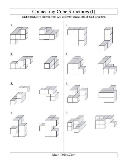 The Building Connecting Cube Structures (I) Math Worksheet