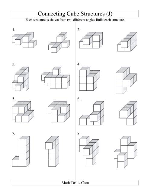 The Building Connecting Cube Structures (J) Math Worksheet