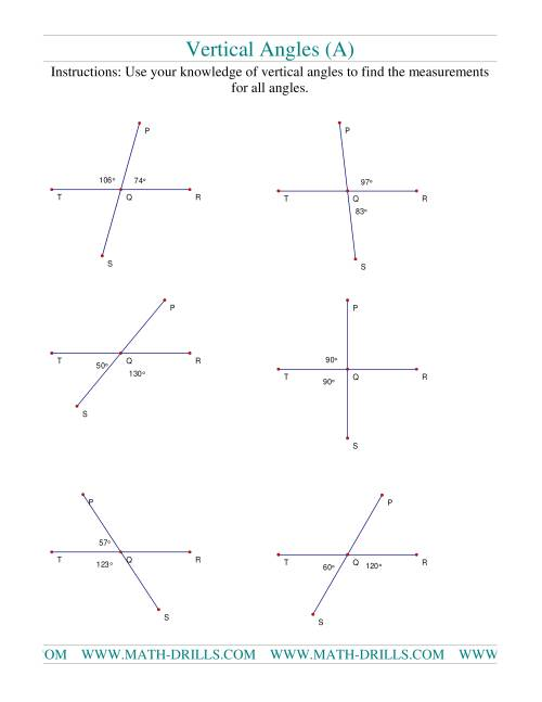 Vertical Angles A – Angles Worksheet Pdf