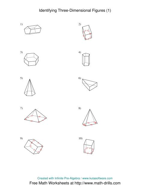 identifying prisms and pyramids a the identifying prisms and pyramids a math worksheet